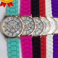 Wholesale Relojes Geneva Silicone - Fashion Geneva Silicone quartz watch women Jelly Sport wristwatch,Woman Dress Brand Watches,Ladies 3 Eyes Watch Wholesale relojes mujer