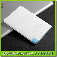 Wholesale Wholesale Usb Credit Cards - Super Light Small 2500mah Ultra Thin Credit Card Power Bank 2500 mah USB Promotion PowerBank with Built In USB Cable Backup Emergency