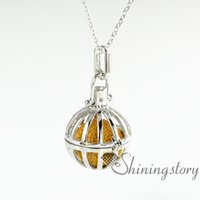 Wholesale Necklace Bird Cage - openwork bird cage volcanic stone aromatherapy necklace wholesale aromatherapy inhaler necklace oil diffuser essential oil jewelry