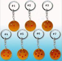 Wholesale Key Rings For Beads - Dragon Ball Key ring cartoon keychain Pendant for children Christmas gift 7 styles 100 PCS YYA807