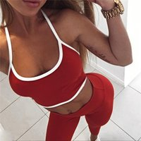 Wholesale Sports Activewear Fashion - 2017 Fashion Fitness Workout Set Women Sexy Halter Crop Top High Waist Elastic Leggings Pants Tracksuit Sporting Activewear