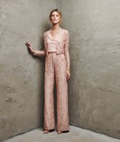 Wholesale ladies evening jacket dresses - 2-Piece Ever Pretty Luxury Pink Lace Mother Of The Bride Pant Suits With Short Jacket Long Sleeve Evening Dresses Lady Party Gowns d125