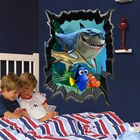 Wholesale Nursery Wall Stickers Fish - Christmas gift 3d Living Bed Room Vinyl Wall Sticker Kids Removable Window Cartoon Finding Nemo Sea Fish Home Decor Decal w28