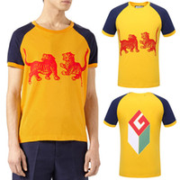 Wholesale Color Block Tee Shirts - Yellow Tshirt Men Printed Two Tigers And Cube Cotton T-Shirt Round Neckline Ribbed Trims Color Blocked Tee