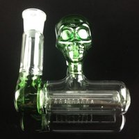 Wholesale Hot Awesome - Awesome Design SKULL ashcatcher hot sale blue green skull ash catcher 18mm joint glass smoking accessories for water pipe free shipping