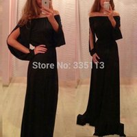 Wholesale New Sexy Fashion Ladies Chiffon Off Shoulder Split Boho Long Maxi Evening Party Dress Plus Size S XL Modern Style