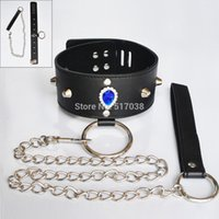 Wholesale Woman Collar Sex - w1029 Faux leather & metal Neck restraint cuff Slave collar and leash fetish bondage product Adult Sex Game Toy for women men Couples