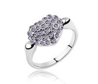 anillo de amor de diamantes de imitacion al por mayor-Nueva moda amor corazón gema anillos 3 colores real cristal austriaco CZ diamante rhinestone anillos anillo de dedo