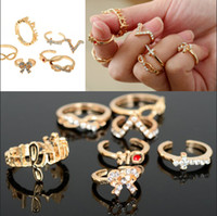 Wholesale Punk Bowknot - Drop Shpping 7pcs(1set) Gold P Punk Bowknot Infinity Cross Crystal Stack Knuckle Midi Mid Rings Set Ring Jewelry [JR15076*1]