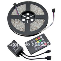 Gros-5M 5050SMD RGB 60LEDS / M 300LED étanche IP65 souple LED Light Strip + 20key IR sonore Contrôleur à distance noir Sensitive