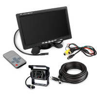 "Wholesale Car Backup Camera Monitor System - 12V Reverse CCD Camera car 7"" Rear View Monitor Caravan Backup Kit 4pin System"