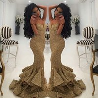 Wholesale Open Back Pageant Dresses - New Mermaid Gold Sequins Dresses Evening Wear 2016 Lace Appliques Open Back Prom Dresses Pageant Gowns Ruffles Sexy Party Dress