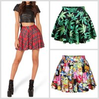 Wholesale Sexy Plaid Mini Skirt - Hot Sexy Women Mini Skirts Green Leaves Adventure Time Red Plaids Slim Dress Skirt for women DQ078