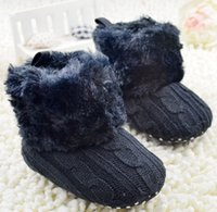 Wholesale Walker Tape - Winter Warm Baby Girl Crochet Cotton Fur Rainbow Bowknot Shoes Infant Baby Walker Magic Tape Shoes Children Toddler Prewalker Shoes K5927