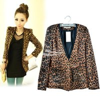 Blazer blazer shoulder fit - 2015 new Hot Spring Autumn Women Leopard Jacket Female Suit Slim Fit One Button Blazer With Shoulder Pad Coat