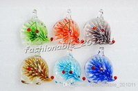 Wholesale Animal Murano Pendants - Animal Hedgehog Multi-Color Lampwork Murano Glass Flower 3D Pendants Necklaces Wholesale Retail FREE #pdt34