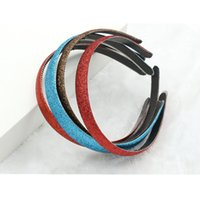Wholesale good quality hair accessories - 30pcs lot 10 Colors Good Quality Girls Glitter Headband 1.2cm Glitter Fabric Covered Plastic Non-slip Hair Band Women Hair Hoop Accessory