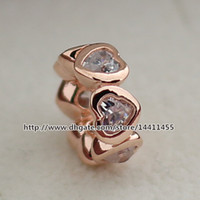 Wholesale Rose Gold Plated Spacer Beads - 925 Sterling Silver & Rose Gold plated Heart Spacer Charm Bead with Clear Cz Fits European Pandora Jewelry Bracelets & Necklaces Necklaces