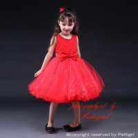 Wholesale neck bow for babies resale online - Pettigirl Hot Red Summer Baby Girls Tulle Dresses With Bow And Polyester Girls Party Dress For Kids Clothing GD80905