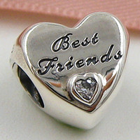 Wholesale Friendship Bracelets Letter Beads - 2015 New 925 Sterling Silver Friendship Heart Charm Pendant Bead with Clear Cz Fits European Jewelry Bracelets & Necklace