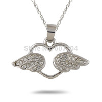 Wholesale Cheap Wings Necklace - High Quality 5Pcs Lot Zinc Alloy Rhodium Plated Cheap Fashion Crystal Angel Wing Hollow Heart Pendant Necklace Jewelry