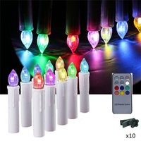 10 Unids potencia de la batería parpadeante RGB Tea Flameless Control Remoto LED taper Candle Light Wedding Xmas Party tree + 12 controlador de la llave