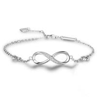 Wholesale Infinity Bracelet Sterling Silver - Fashion Infinity Charm Bracelets 925 Sterling Silver Bangle Bracelets Cubic Zircon Stones Tennis Bracelets For Women
