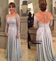 2016 Silber Charming A Line Mutter der Braut Abendkleider Long Sleeves Appliques Lace Prom Kleider Nackte Rückseite Sheer Bateau Plus Size