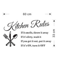 Wholesale American Stoves - Kitchen Rules Wall Sticker Lettering and Fork Wall Art Murals Stickers DIY Note Kitchen Decoration Waterproof and Removable Wall Decal MURAL