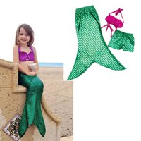 Wholesale Cute Girls Bathing Suits - Cute girl shiny scalloped mermaid three-piece bikini swimwear little girl seashells mermaid beach braces swimsuit girls shells bathing suit
