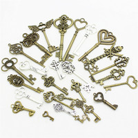 Wholesale Metal Charms Pendants Assorted - Wholesale-20-45pattern Mixed 30pcs Assorted key Charms Pendants key Metal Alloy Pandent Plated two color Diy Jewelry making D0952