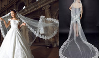 Wholesale Satin Favors - Real Image 3 meters Wedding Veils Lace Applique Edge Tulle Cathedral Length Veils In Stock Bridal Veils Accessories Wedding Favors