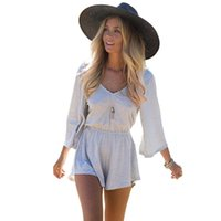 Wholesale 2015 Autumn new women s fashion casual loose V neck waist casual pants Siamese Siamese sleeve dress