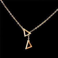 Wholesale Geometric Choker Necklace - Wholesale 10Pcs lot 2017 Top Fashion Stainless Steel Jewelry Pendant Geometric Double Triangles Gold Chains Choker Necklaces for Women