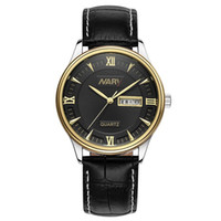 Wholesale Choice Fashion Case - Multiple-Choice Exquisite Fashion Simplicity Accurate Leather Strap Alloy Case High-End Men Watch Waterproof Christmas Gift