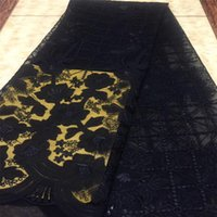 Wholesale French Style Dresses - African Lace Fabric 2018 High Quality Velvet Fabric in Black Nigerian Style Embroidery French Net Lace For Dress GN128-1