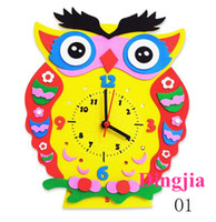 Wholesale clocks images - Creative DIY alarm clock cartoon image of child children clock handmade paper + EVA material of about 24 * 20cm