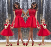 Wholesale Communion Portrait - 2017 real photos mother and daughter dress jewel capped sleeves lace formal party gowns red tulle a line short prom dresses