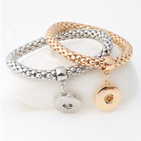 Wholesale Elastic Charms - Fashion Ginger Snap Bracelet Elastic Snake Chain Bracelet Bangles fit 18MM snap buttons Women Unisex Jewelry B381