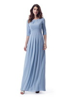 вечерние платья оптовых-Синие длинные скромные платья подружки невесты с 34 рукавами и шифоновыми длинами до щиколотки Формальные свадебные платья LDS Платье для подружки невесты