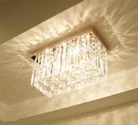 Wholesale drop ceiling led lighting - Modern Fashion Glass K9 Crystal Chandeliers Rectangle Ceiling Light Living Room Aisle Bedroom Chandelier Rain Drop Design Ceiling Lamp light