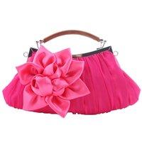 Wholesale Satin Roses Handbag - Pleated satin handbag rose flower decorated soft party bag ladies wedding party clutch bag prom purse and handbag with handle