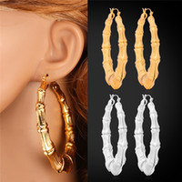 Wholesale Big Gold Bamboo Earrings - U7 Big Bamboo Hoop Earrings Gold Platinum Plated Fashion Jewelry Trendy Basketball Wives Circle Round Earrings For Women Perfect Gifts E664