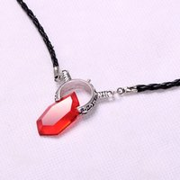 Wholesale Devil Necklaces - Hot New DMC Devil May Cry 5 Dante Pendant Necklace RARE Cosplay Red Stone necklace Best Gift