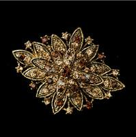 topaz pimleri broşlar toptan satış-Vintage Bak Antik Altın Kaplama Topaz Rhinestone Kristal Diamante Çiçek Gelin Broş Pin Parti Balo Hediyeler