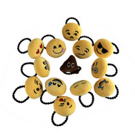 Wholesale Rubber Band Hair Designs - 12 Design Cute Emoji Women Girl Hairbands Lovely Plush QQ Expression Hair Bands Fashion Hair Accessories Valentine Funny Gift DCBJ369-B