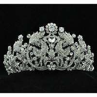 Wholesale Big Tiara Crystal - Popular Austria Rhinestones Leaves Big Tiara for Wedding Bridals