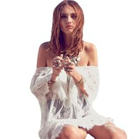 Wholesale Sexy Bikinis Discount - 2015 New Women Sexy Beach Dress Cover Up See-Through Lace Off Shoulder Swimwear Swimsuit Bikini Cover Ups Big Discount White order<$18no tra