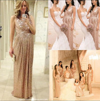 Wholesale Bling Sheath Wedding Dress - Cheap Sexy V Neck Bling Rose Gold Sequins Bridesmaid Dress 2016 Plus Size Backless Real Image Maid Of The Honor Wedding Party Gowns