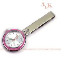 Wholesale Pocket Watch Classic - Classic analog quartz pink nurse FOB pocket watch nursing brooch lapel medical clock for nurse and doctors hospital use kit